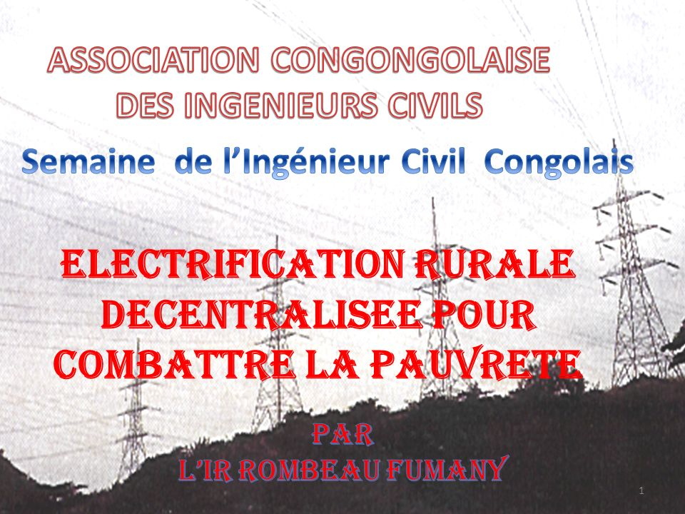 ELECTRIFICATION RURALE DECENTRALISEE POUR COMBATTRE LA PAUVRETE