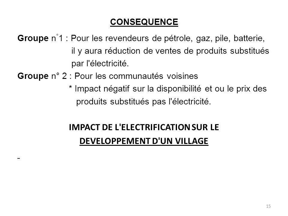 IMPACT DE L ELECTRIFICATION SUR LE