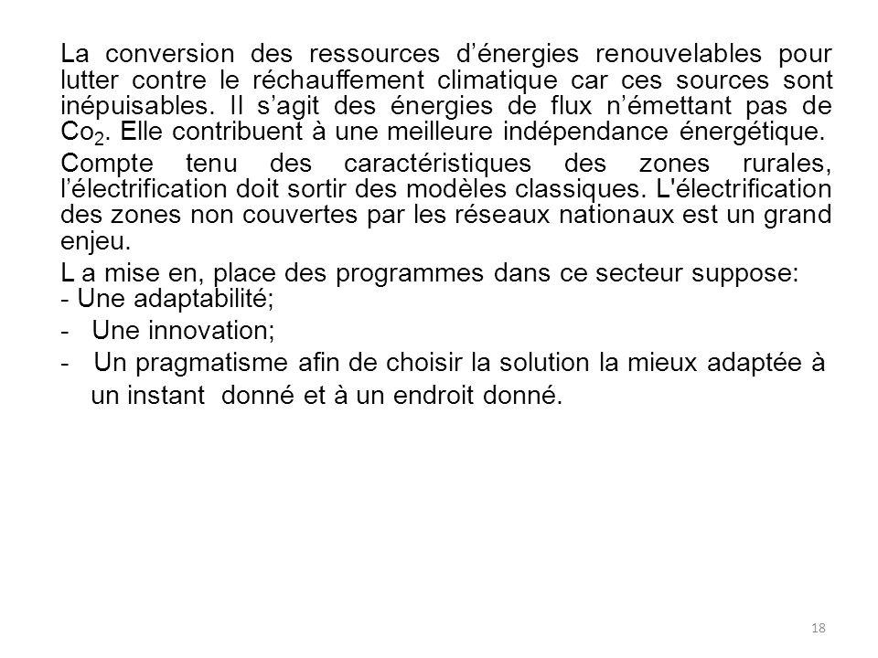 La conversion des ressources d'énergies renouvelables pour lutter contre le réchauffement climatique car ces sources sont inépuisables. Il s'agit des énergies de flux n'émettant pas de Co2. Elle contribuent à une meilleure indépendance énergétique.