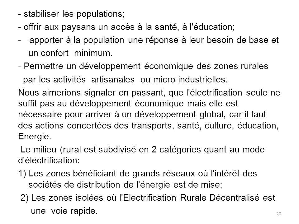 - stabiliser les populations;