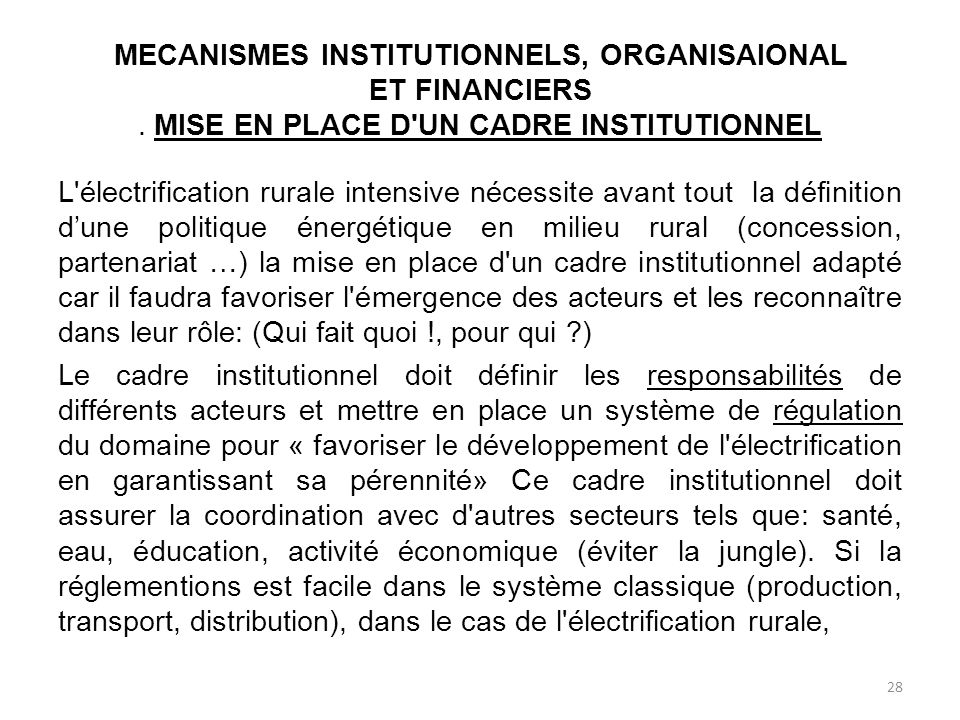 MECANISMES INSTITUTIONNELS, ORGANISAIONAL ET FINANCIERS