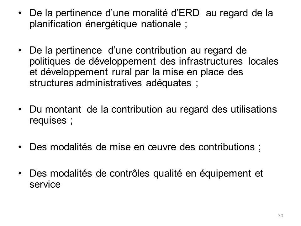 De la pertinence d'une moralité d'ERD au regard de la planification énergétique nationale ;