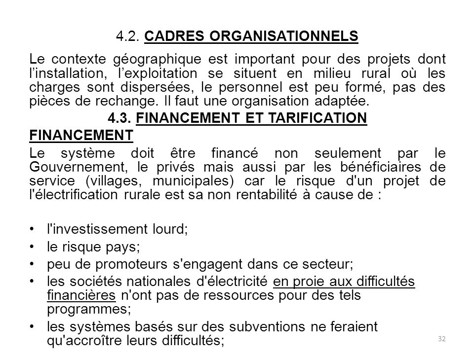 4.2. CADRES ORGANISATIONNELS