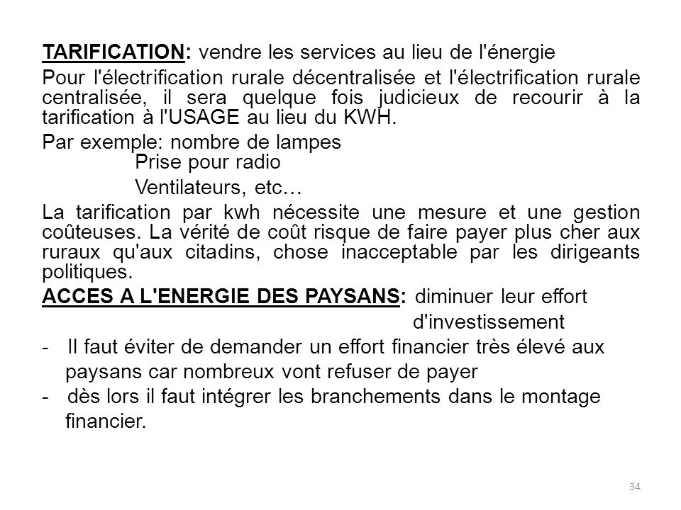 TARIFICATION: vendre les services au lieu de l énergie