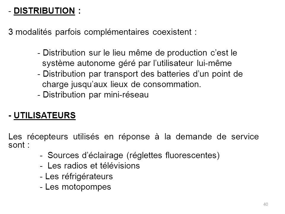 - DISTRIBUTION : 3 modalités parfois complémentaires coexistent : - Distribution sur le lieu même de production c'est le système autonome géré par l'utilisateur lui-même - Distribution par transport des batteries d'un point de charge jusqu'aux lieux de consommation.