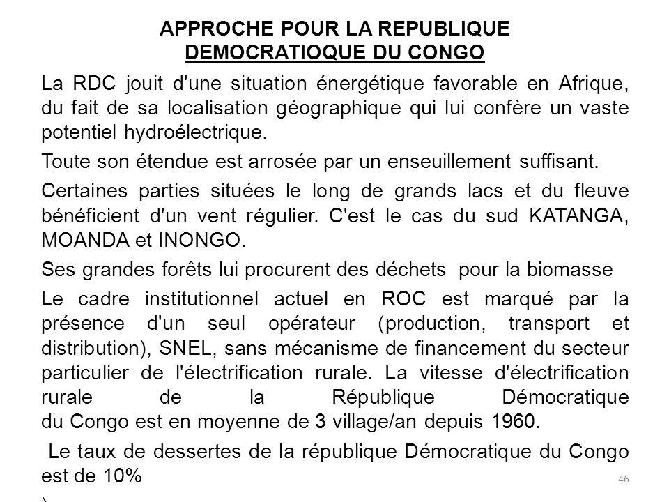 APPROCHE POUR LA REPUBLIQUE DEMOCRATIOQUE DU CONGO
