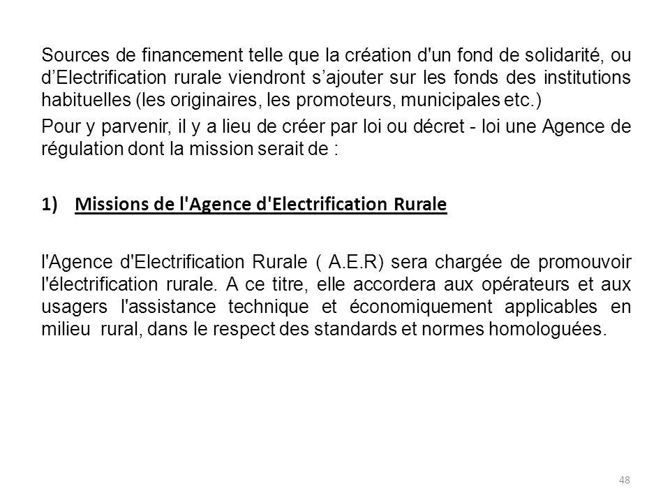 Missions de l Agence d Electrification Rurale