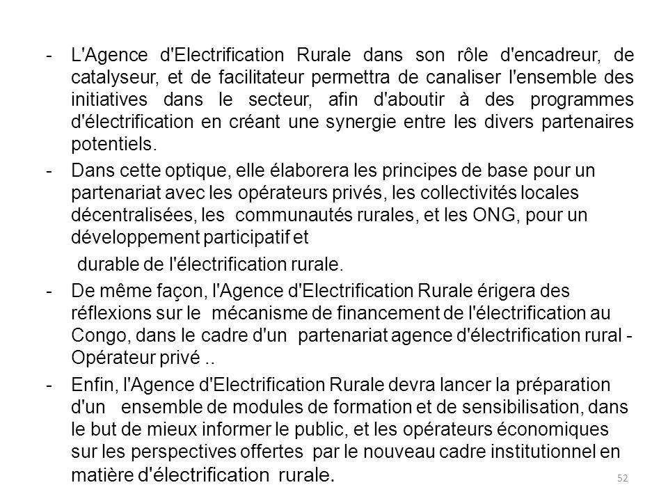 L Agence d Electrification Rurale dans son rôle d encadreur, de catalyseur, et de facilitateur permettra de canaliser l ensemble des initiatives dans le secteur, afin d aboutir à des programmes d électrification en créant une synergie entre les divers partenaires potentiels.