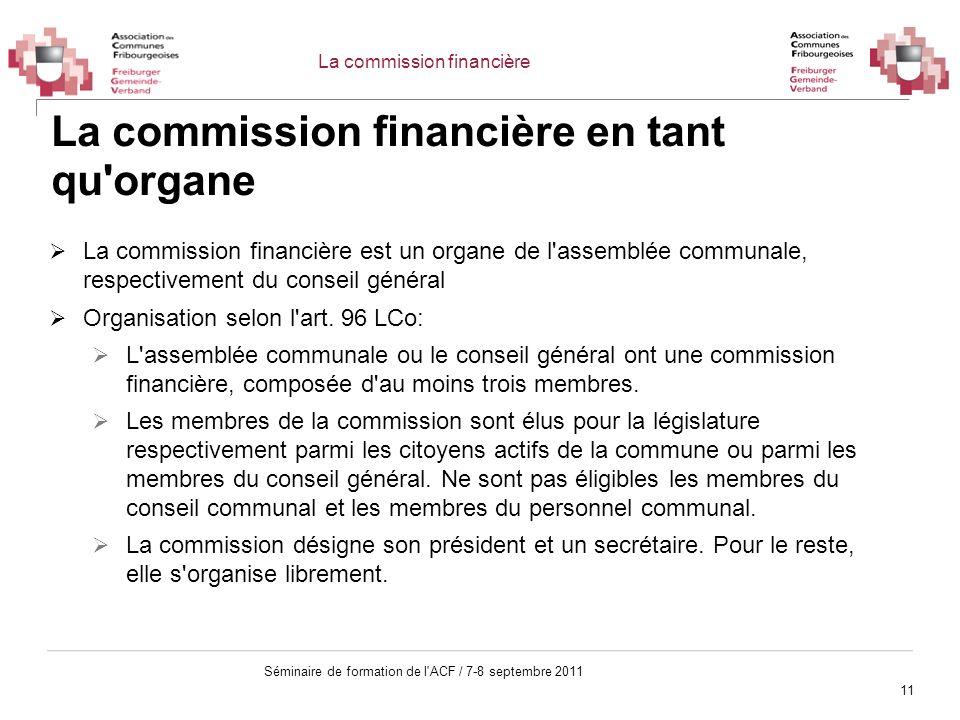 La commission financière en tant qu organe