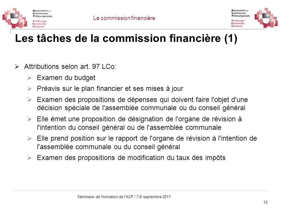 Les tâches de la commission financière (1)