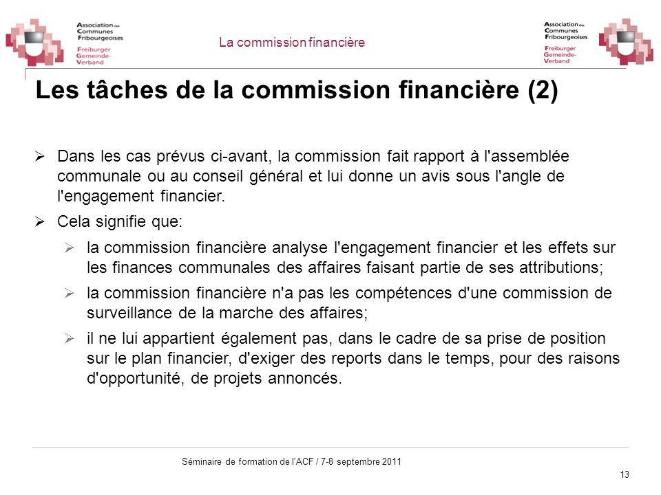 Les tâches de la commission financière (2)