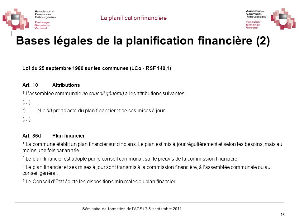 Bases légales de la planification financière (2)