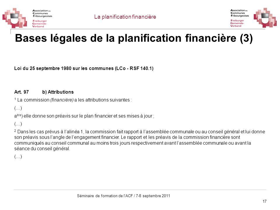 Bases légales de la planification financière (3)