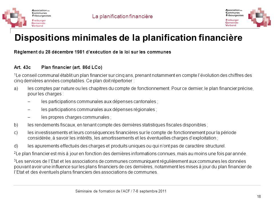 Dispositions minimales de la planification financière