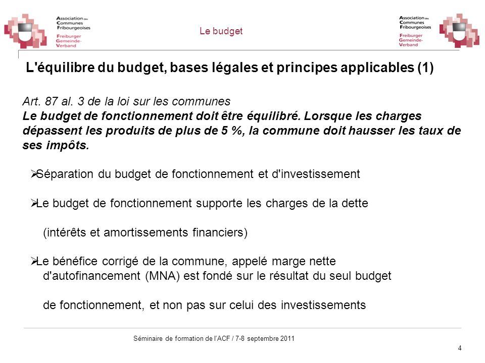 L équilibre du budget, bases légales et principes applicables (1)