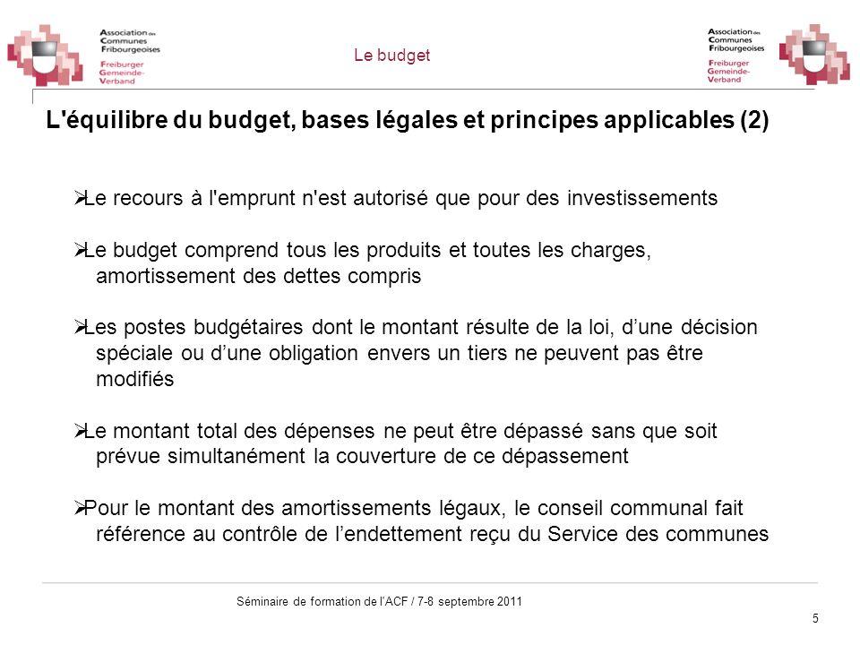 L équilibre du budget, bases légales et principes applicables (2)