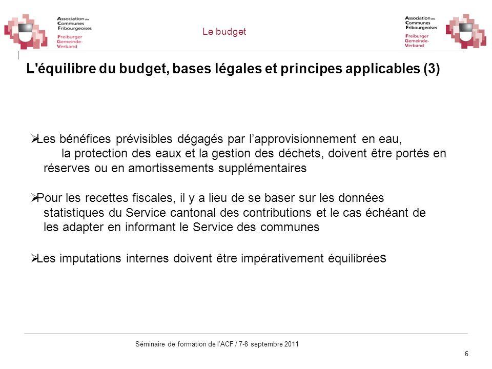 L équilibre du budget, bases légales et principes applicables (3)