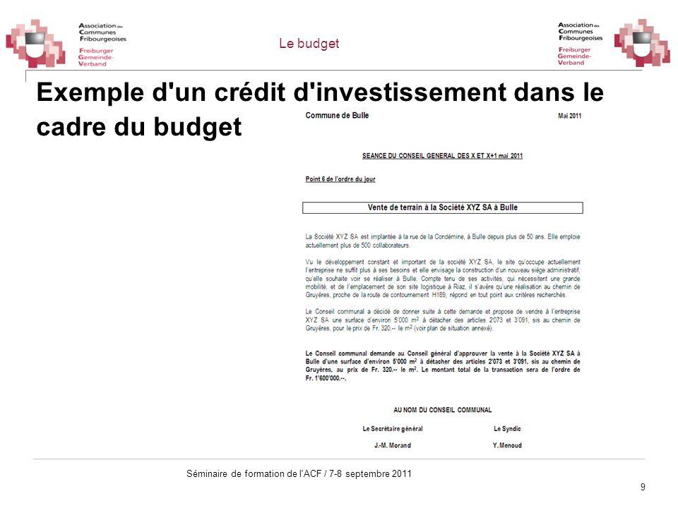 Exemple d un crédit d investissement dans le cadre du budget