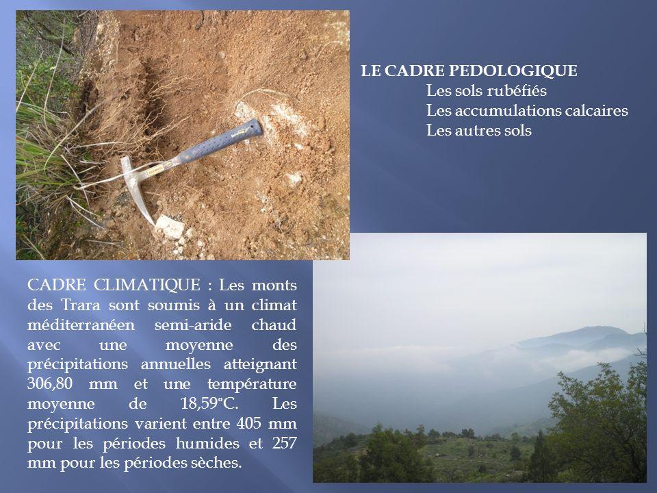 LE CADRE PEDOLOGIQUE Les sols rubéfiés. Les accumulations calcaires. Les autres sols.