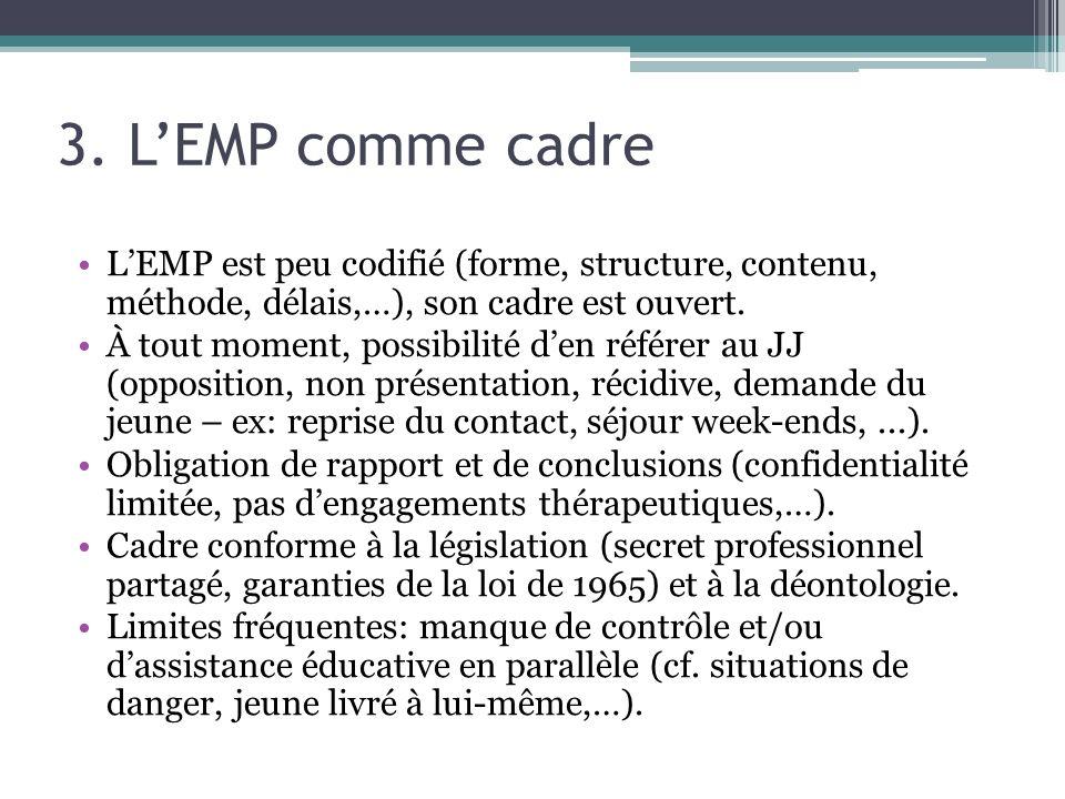 3. L'EMP comme cadre L'EMP est peu codifié (forme, structure, contenu, méthode, délais,…), son cadre est ouvert.
