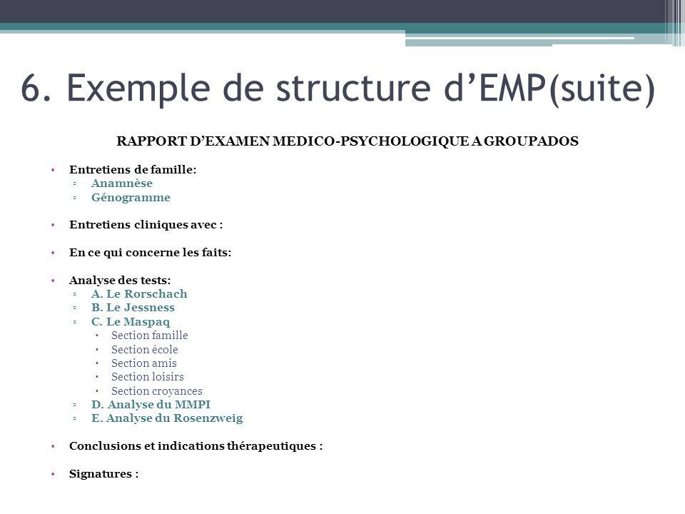 6. Exemple de structure d'EMP(suite)