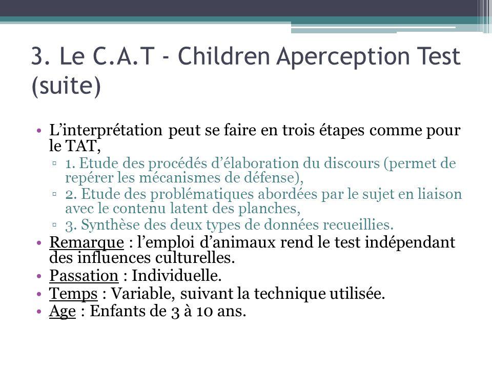 3. Le C.A.T - Children Aperception Test (suite)