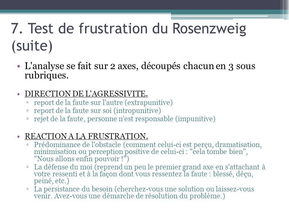 7. Test de frustration du Rosenzweig (suite)