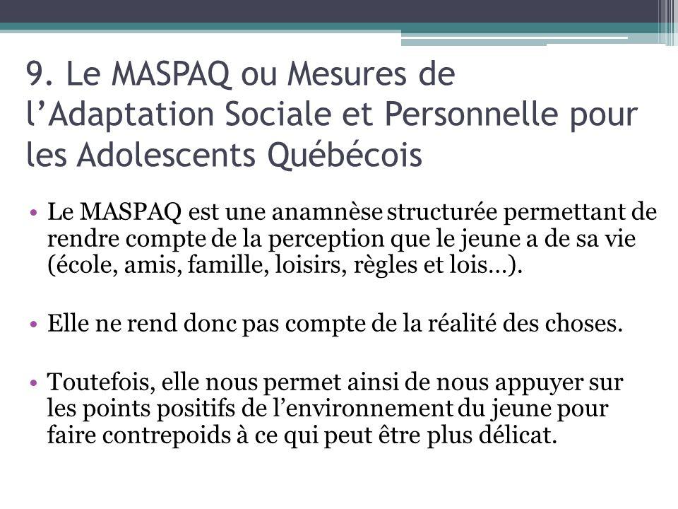 9. Le MASPAQ ou Mesures de l'Adaptation Sociale et Personnelle pour les Adolescents Québécois