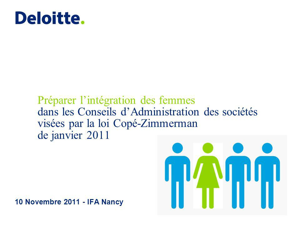 Préparer l'intégration des femmes dans les Conseils d'Administration des sociétés visées par la loi Copé-Zimmerman de janvier 2011