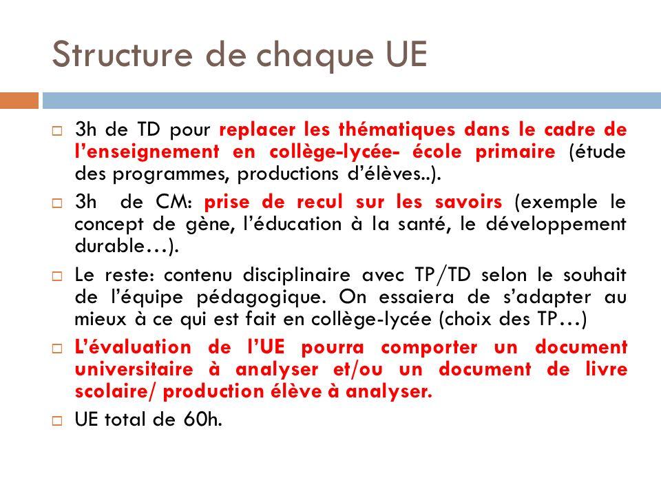 Structure de chaque UE