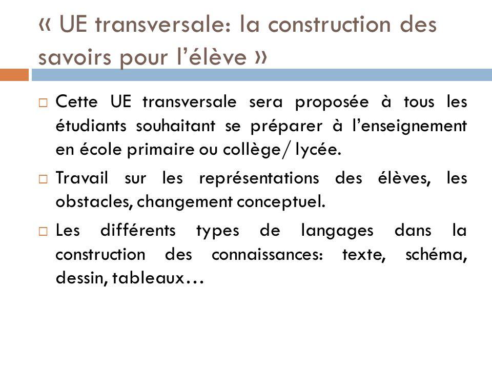 « UE transversale: la construction des savoirs pour l'élève »