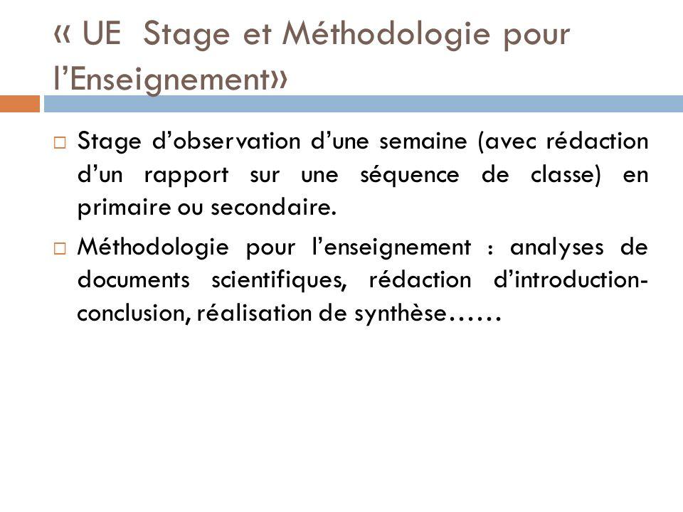 « UE Stage et Méthodologie pour l'Enseignement»