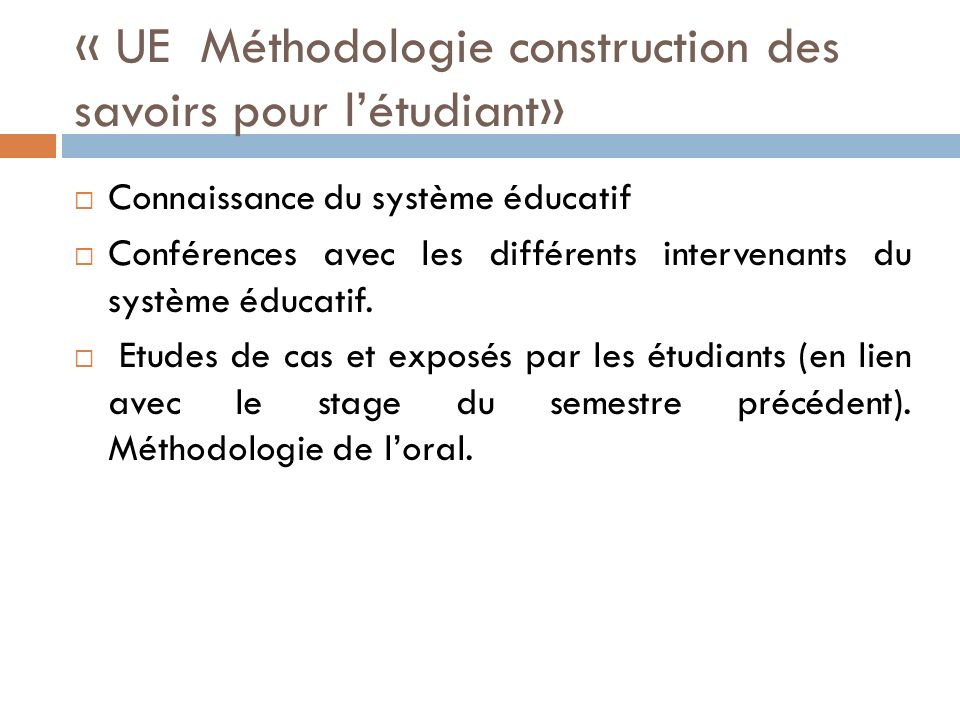 « UE Méthodologie construction des savoirs pour l'étudiant»