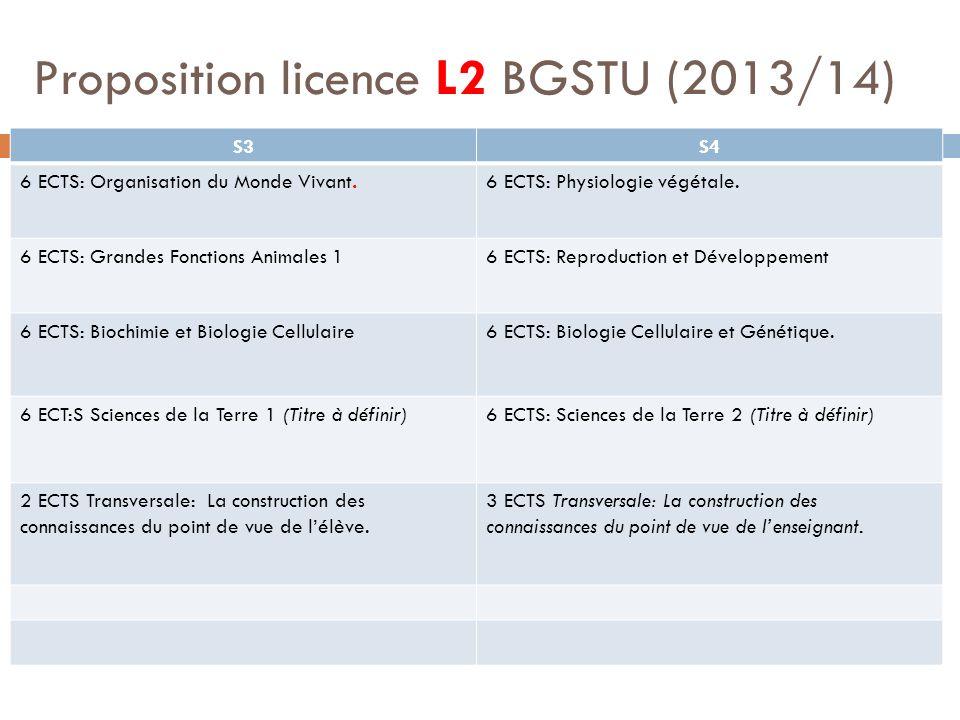 Proposition licence L2 BGSTU (2013/14)