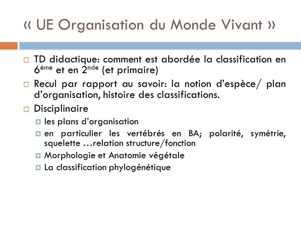 « UE Organisation du Monde Vivant »