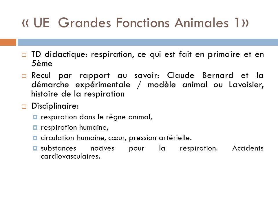 « UE Grandes Fonctions Animales 1»