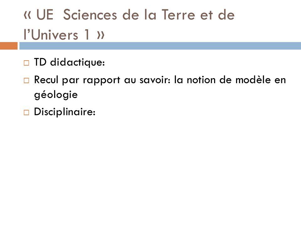 « UE Sciences de la Terre et de l'Univers 1 »