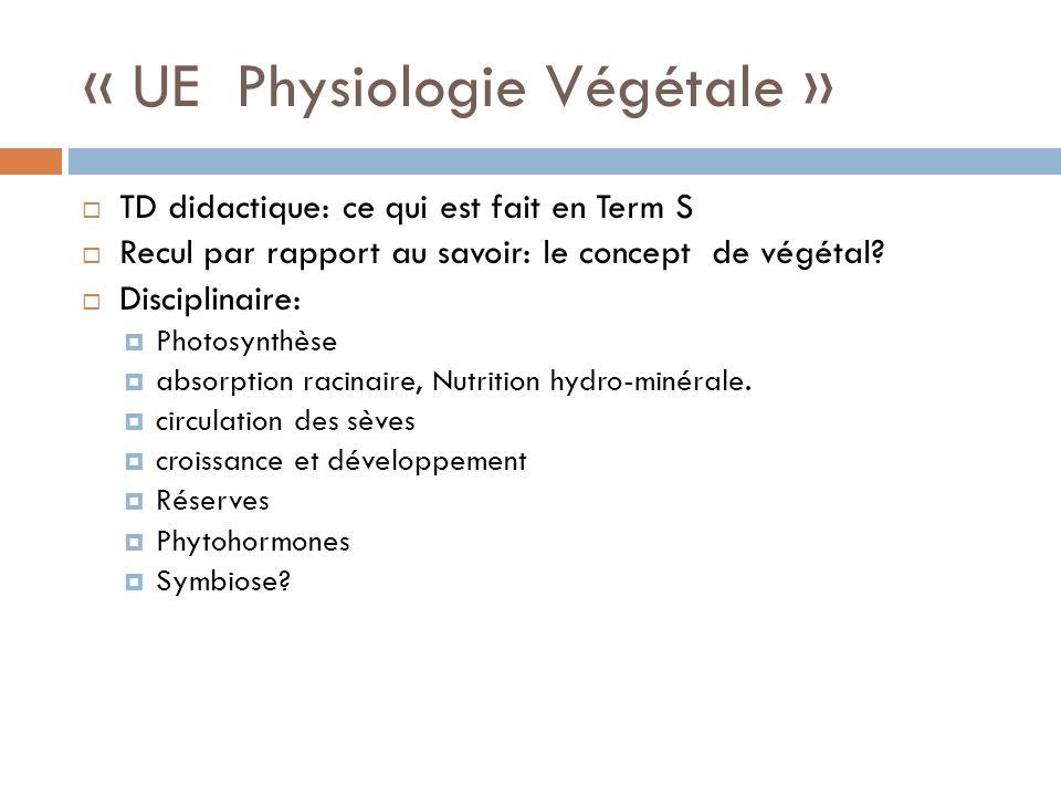 « UE Physiologie Végétale »