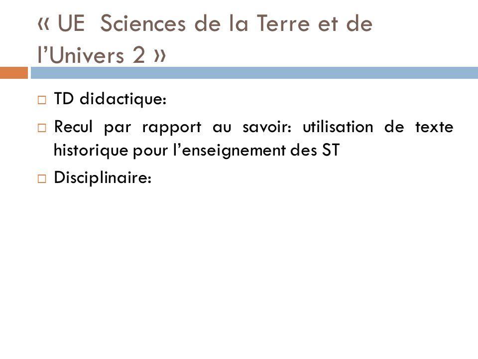 « UE Sciences de la Terre et de l'Univers 2 »