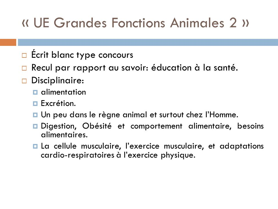 « UE Grandes Fonctions Animales 2 »
