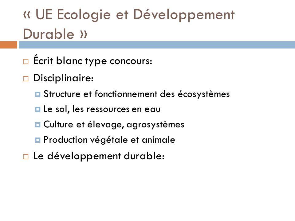 « UE Ecologie et Développement Durable »