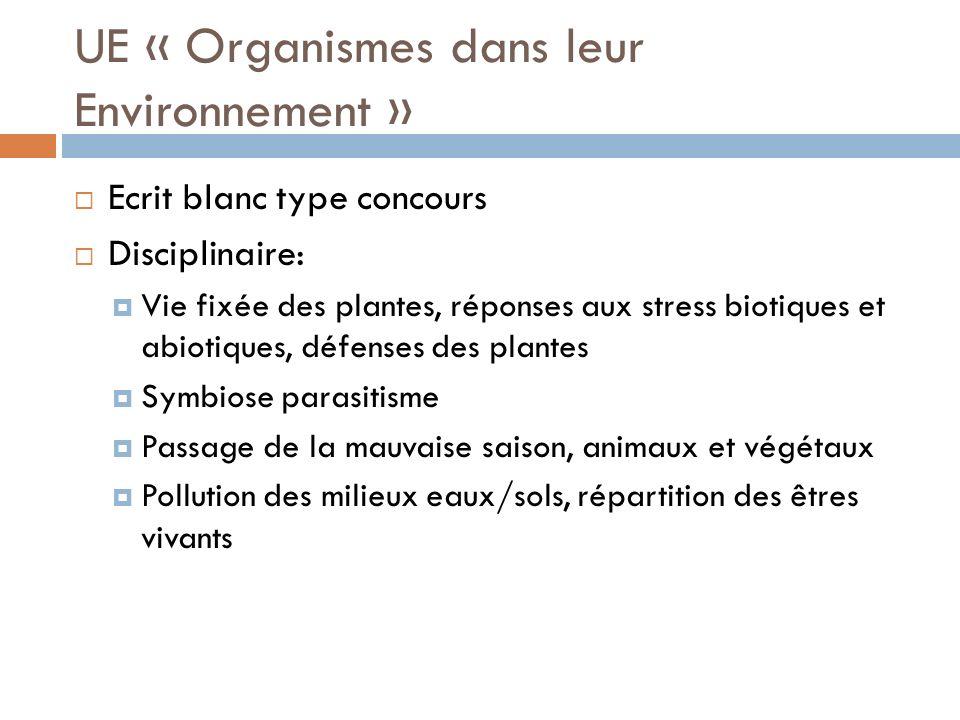 UE « Organismes dans leur Environnement »