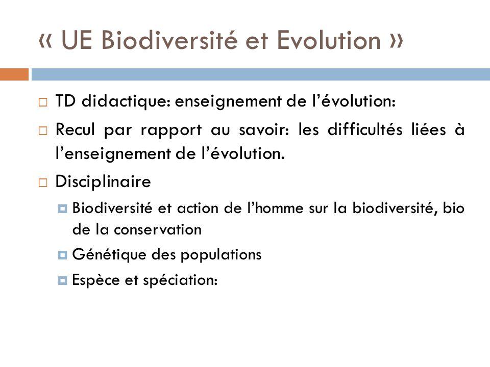 « UE Biodiversité et Evolution »