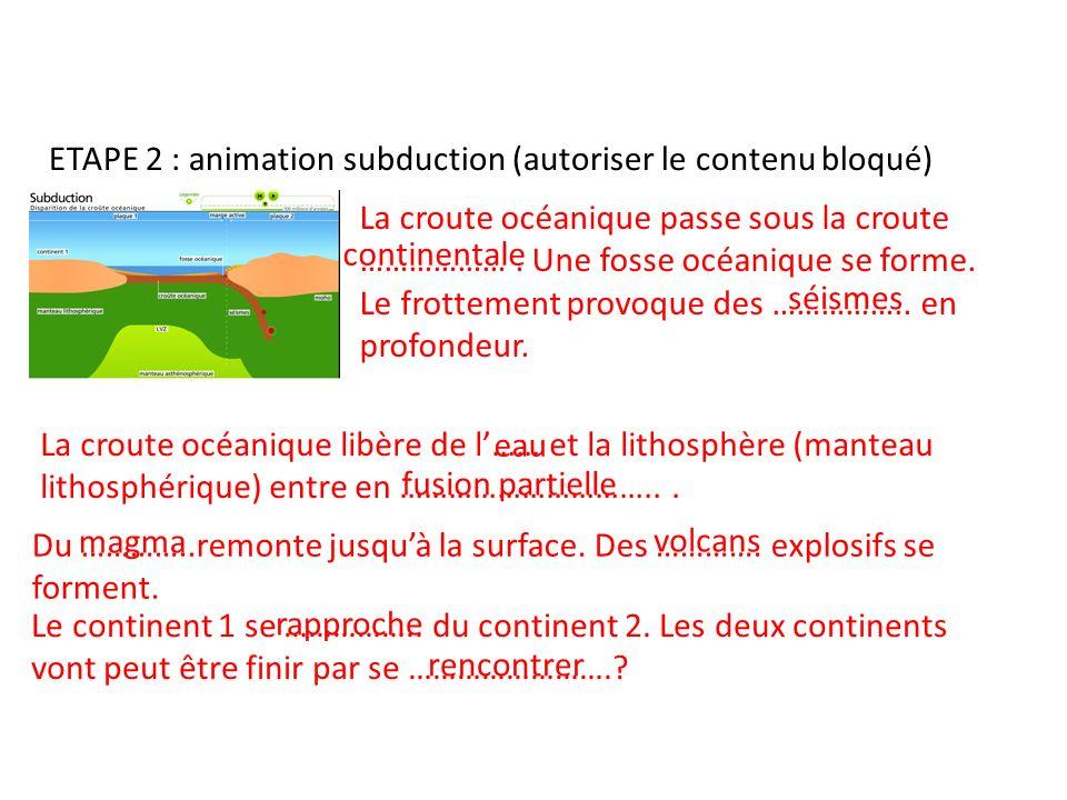 ETAPE 2 : animation subduction (autoriser le contenu bloqué)