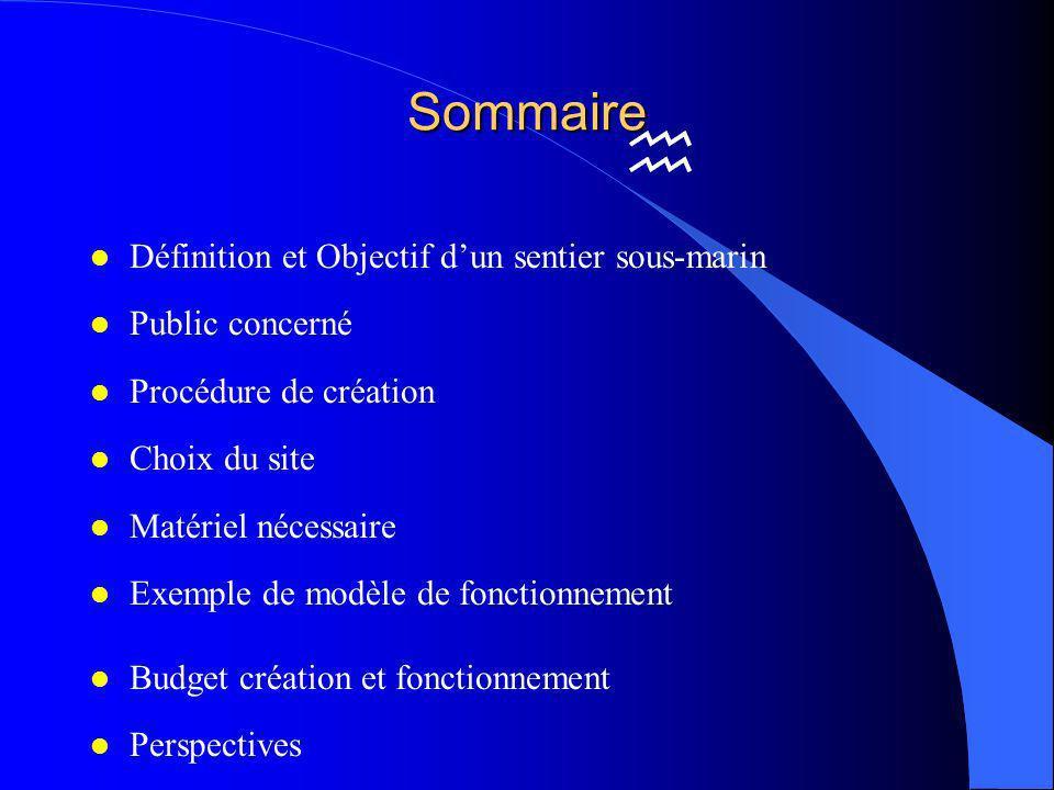 Sommaire Définition et Objectif d'un sentier sous-marin