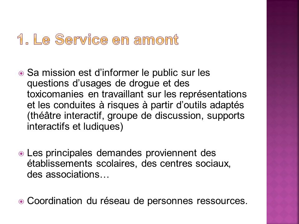 1. Le Service en amont