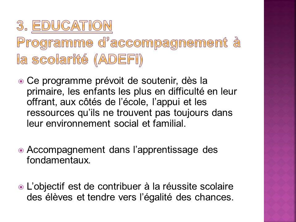 3. EDUCATION Programme d'accompagnement à la scolarité (ADEFI)