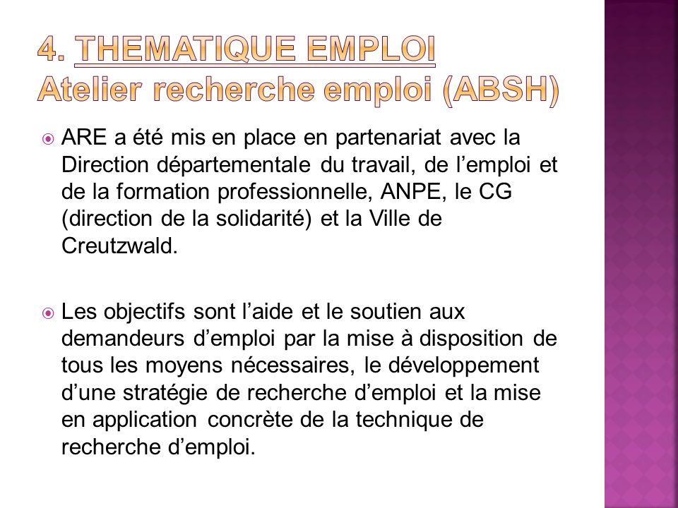 4. Thematique emploi Atelier recherche emploi (ABSH)