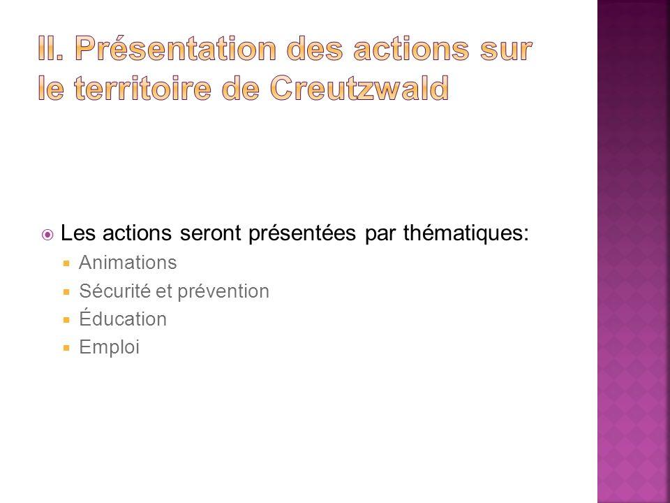 II. Présentation des actions sur le territoire de Creutzwald