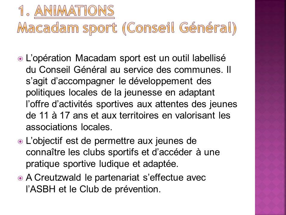 1. ANIMATIONS Macadam sport (Conseil Général)
